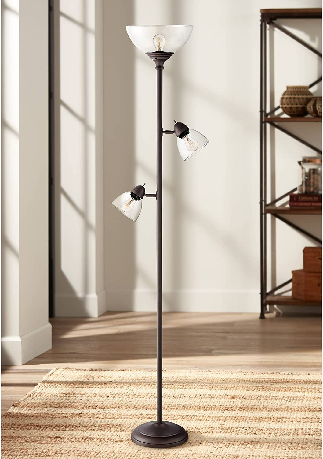 Riley Modern Torchiere Floor Lamp Painted Cl Tree Ranking TOP19 3-Light Bronze New life