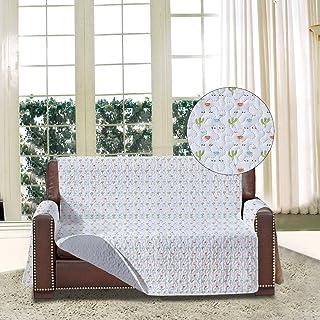 Funda de sofá estampada reversible con bolsillos, protectores de sofá resistentes a las manchas para 2 cojines de sofá con correas elásticas y lazos para mascotas, niños, perros, gatos y gatos