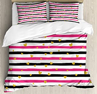 Gold and White Queen Size Duvet Cover Set by Ambesonne, Romantic Teenager Love Sign Hearts on Grunge Stripes Lines, Decorative 3 Piece Bedding Set with 2 Pillow Shams, Hot Pink Black and White
