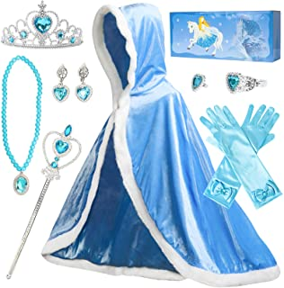Fedio Girls Princess Cape Set Princess Dress up Trunk Costume Set with Princess Cape, Princess Tiara Crown, Princess Wand,...