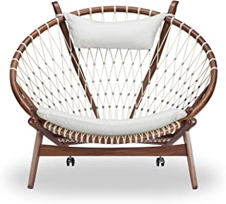 Kardiel Circle Hoop Modern Lounge Chair, Genuine Italian Leather and Walnut, White