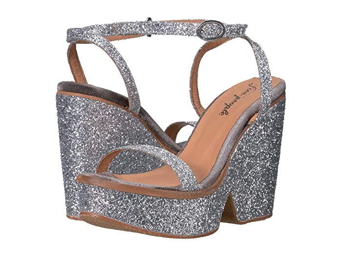 60s Shoes, Boots Free People Gramercy Platform Silver Womens Shoes $113.21 AT vintagedancer.com
