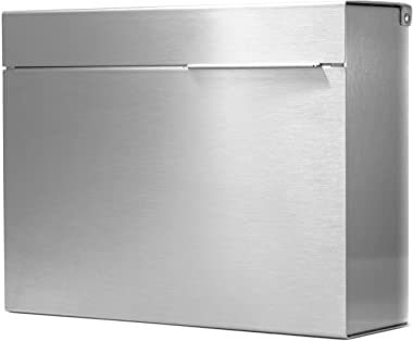 Modern Mailbox Personalized, Engraved Stainless Steel, Wall-Mount Mailbox Vsons Design Mitch S (Brushed Stainless Steel with Numbers)