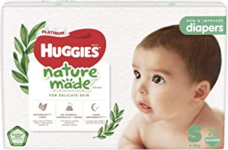 Huggies Platinum Naturemade Tape Diapers S 70s, 210 count (Pack of 3)