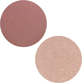 Powder Blush Highlighter Duo Palette - 2 Set Pink Matte Pearl Blusher with Highlighting Kit for Face, Magnetic Refill Pans 37mm, Professional Quality Makeup, Paraben Gluten Cruelty Free Cosmetics USA