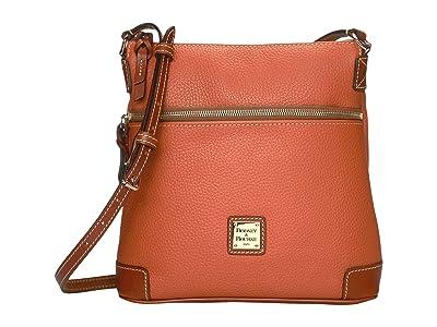 Dooney & Bourke Pebble Leather Crossbody (Tangerine/Tan Trim) Cross Body Handbags