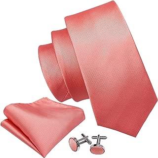 Solid Colors Men Ties Handkerchief Cufflinks Necktie Set for Wedding Business