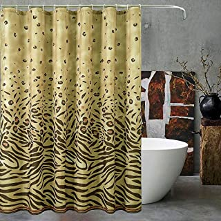 YJ YANJUN Leopard Shower Curtain - Grommet Top Waterproof Fabric Shower Curtain with 12 Hooks 72x72 Inch 1 Panel