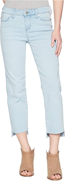 Petite Jayden Crop Straight High-Low Released Hem in Crosshatch Stretch Denim in Brenton