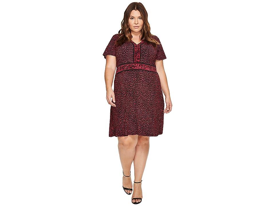 MICHAEL Michael Kors Plus Size Cheetah Cat Border Dress (Raspberry) Women