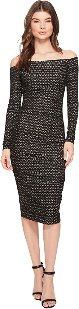 Nicole Miller - Lurex Zigzag 3/4 Sleeve Dress