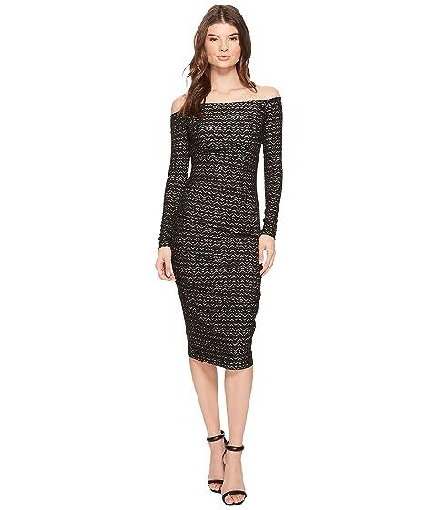 Nicole Miller Lurex Zigzag 34 Sleeve Dress At 6pm
