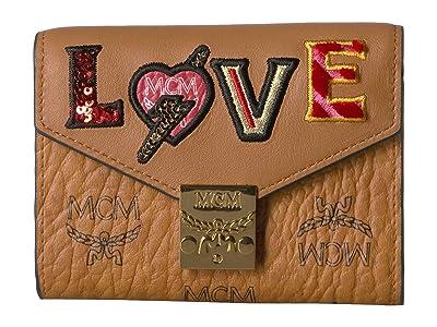 MCM Patricia Love Patch Flap Wallet/Trifold Small (Cognac) Handbags