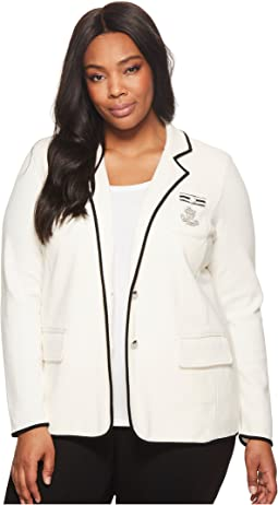 Plus Size Bullion-Embroidered Knit Blazer
