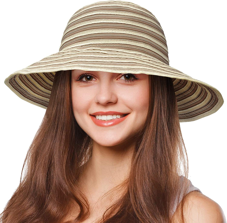 Tirrinia Floppy Straw Sun Hat for Women Striped Foldable Beach Cap with Wide Brim
