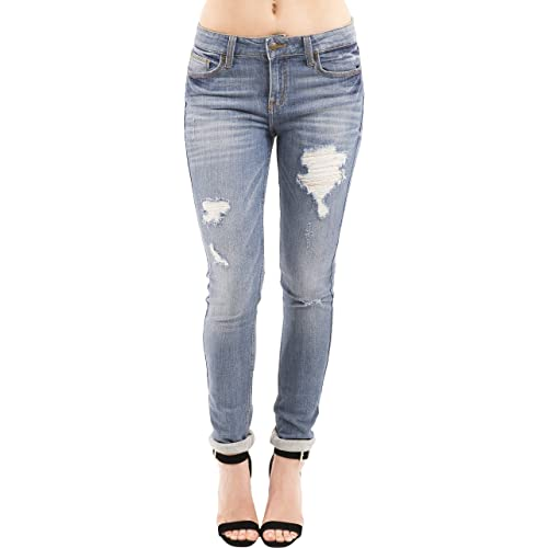 b5ee8bf0e15 Eunina Women s Distressed Stretch Skinny Jeans Plus