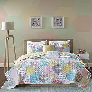 Urban Habitat Kids Trixie Full/Queen Bedding for Girls Quilt Set - Pink Yellow Teal, Geometric – 5 Piece Kids Girls Quilts – Cotton Quilt Sets Coverlet