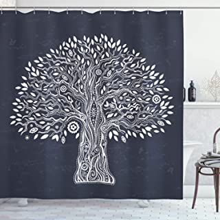 Tree of Life Shower Curtain by Ambesonne, Unique Ethnic Tree Illustration Pure and Noble in Majestic Mother Nature, Fabric Bathroom Decor Set with Hooks, 70 Inches, Dark Grey White