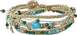 AeraVida Beautifully Vibrant Simulated Turquoise Round Cotton Rope Wrap Bracelet