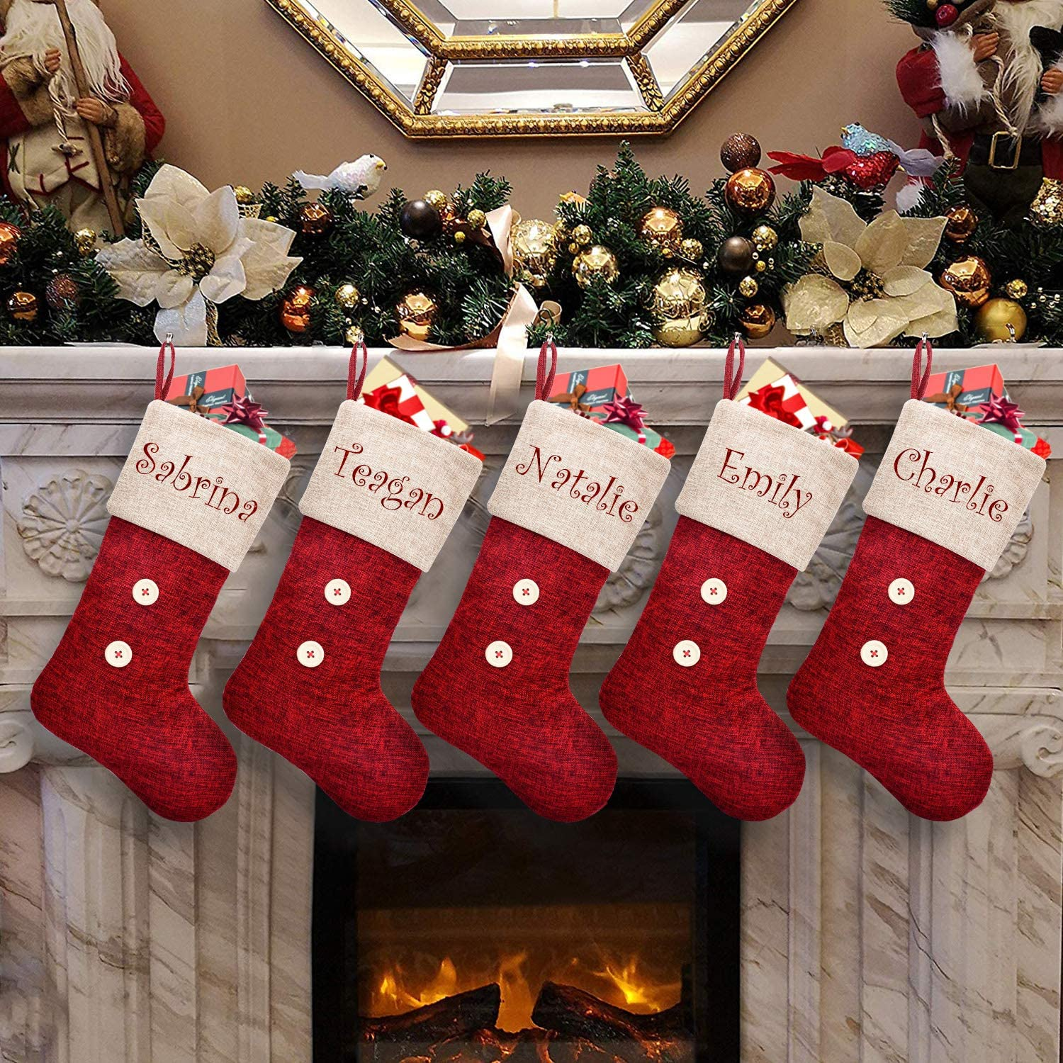 ElegantPark Luxury Personalized Christmas Stockings Year-end annual account 5 Red Pack Burlap C