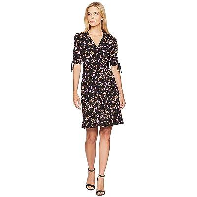 Donna Morgan Short Gathered Sleeve Wrap Dress (Black/Lilac Multi) Women