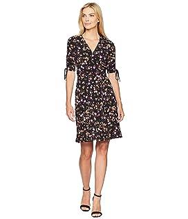 Short Gathered Sleeve Wrap Dress