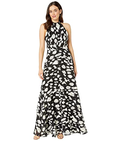 Tahari by ASL Sleeveless Printed Burnout Maxi with High Neckline (Black Cream Animal) Women