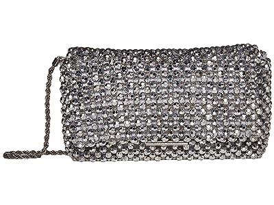 Loeffler Randall Mimi Beaded Clutch with Chain Strap (Silver) Handbags
