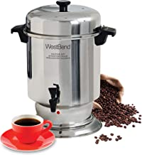 West Bend 13550 Polished Stainless Steel Commercial Coffee Urn Features Automatic Temperature Control Large Capacity with Quick Brewing Easy Clean Up, 55-Cup, Silver