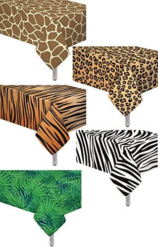 5 Pack Animal Safari Theme Zoo Print Table Cover / Animal Theme Tablecloth Party Supplies/ Ideal for Birthday Parties...