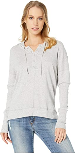 Baby Rib Long Sleeve High-Low Henley Pullover Hoodie