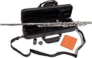 Herche Superior Flute FL-297 - Best for Students - Silver Plated Body with Durable Silver Plated Keys - Split E Mechanism, Plush Lined Flute Case with Shoulder Strap, Treated Pads and Cleaning Rod All