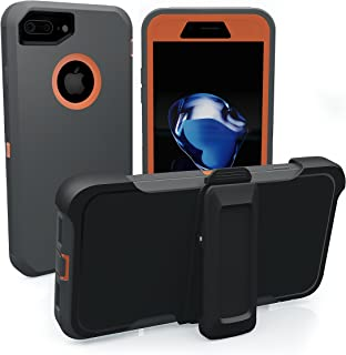iPhone 7 Plus Case, iPhone 8 Plus Case, ToughBox [Armor Series] [Shockproof] [Gray | Orange] for Apple iPhone 7/8 Plus Case [Screen Protector] [Holster & Belt Clip] [Fits OtterBox Defender Clip]