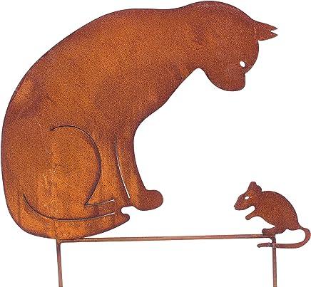 .. Dekofigur Katzen mit Herz im Rost Design Rostfigur für den Garten 2er Set