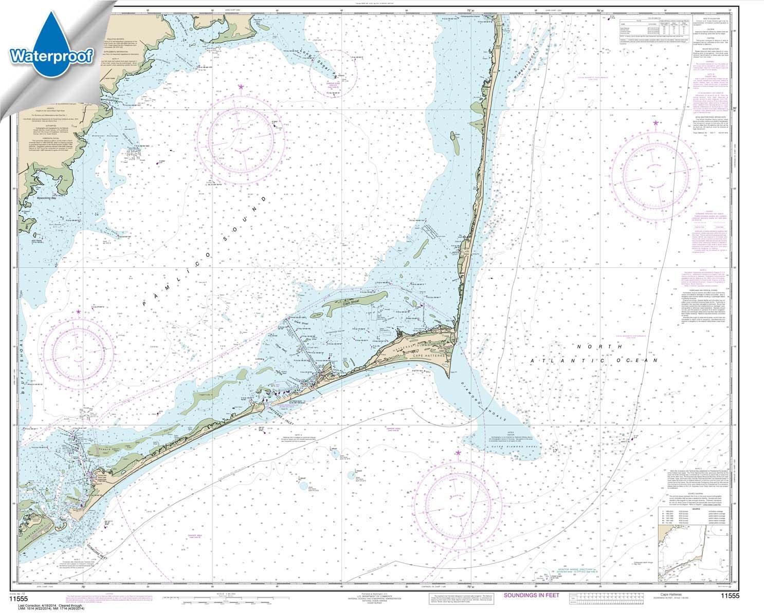 Paradise Cay Publications NOAA Chart 11555: Cape Hatteras-Wimble Shoals to Ocracoke Inlet 35.5 x 44.1 (WATERPROOF)