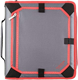 Five Star 2 Inch Zipper Binder, 3 Ring Binder, Expansion Panel, Durable, Gray/Bright Coral (29052IY8)