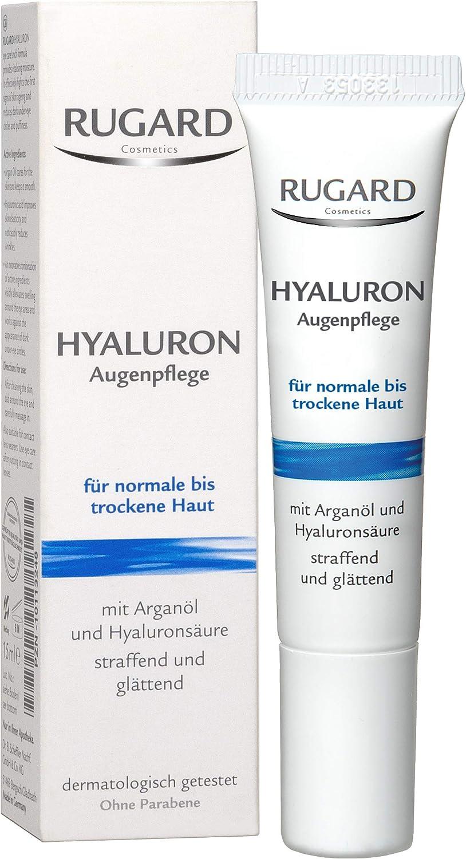 RUGARD Cuidado de los ojos con ácido hialurónico contra ojeras y arrugas alrededor de los ojos, con ácido hialurónico y aceite de argán, 15 ml