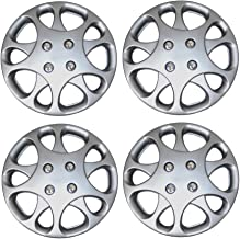TuningPros WSC3-821S14 4pcs Set Snap-On Type (Pop-On) 14-Inches Metallic Silver Hubcaps Wheel Cover