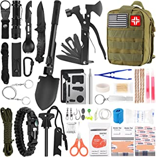کیت بقای اضطراری و کیت کمک های اولیه ، تجهیزات و تجهیزات حرفه ای بقاء 142Pcs با کیف Molle ، برای کمپینگ ماجراجویی در فضای باز برای مردان