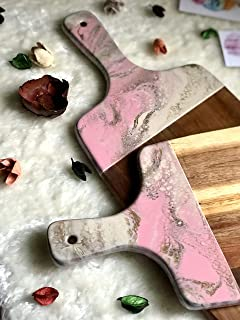 Tabla de cortar de resina rosa, beige y dorada con efecto mármol 42 o 32 cm