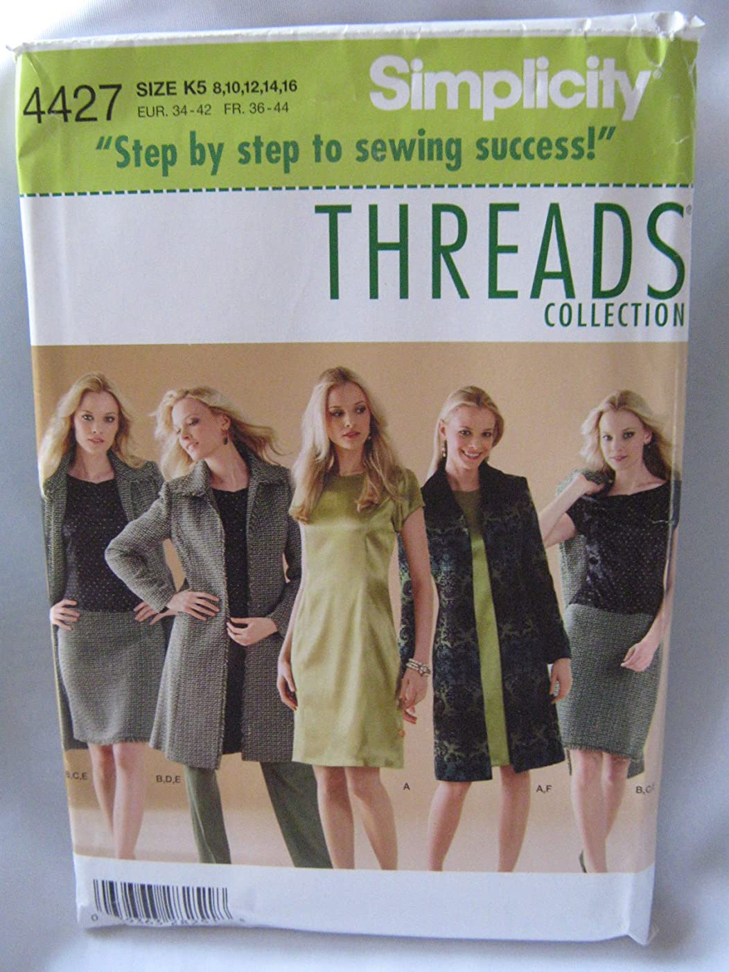 Simplicity 4427 Thread Collections Misses'/Miss Petite Dress or Top, Skirt, Pants and Lined Coat Sizes 8-16
