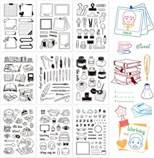 GLOBLELAND 9 Sheets Silicone Clear Stamps Seal for Card Making Decoration and DIY Scrapbooking(Calendar Planner, Clip, Boo...