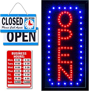 Ultima LED Neon Open Sign for Business: Vertical Lighted Sign Open with Flashing Mode – Indoor Electric Light up Sign for ...