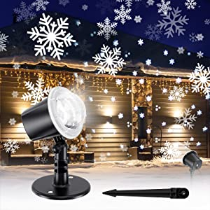 Gaiatop Christmas Snowflake Projector Light, Snowfall Show Outdoor Indoor Weatherproof Led Landscape Decorative Lighting for Christmas Holiday Party Wedding Garden Patio