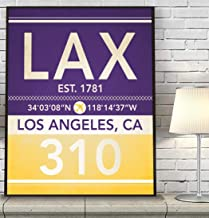 Los Angeles California LAX 310 Vintage Airport Area Code Map Coordinates Subway Art Print, Unframed, Customized Colors, Home Decor Poster, All Sizes