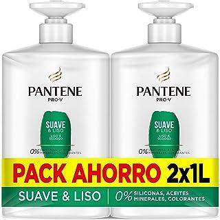 Pantene Pro-V Suave & Liso Champú Suavidad y Control del encrespamiento 2 x 1000 ml Pack Ahorro