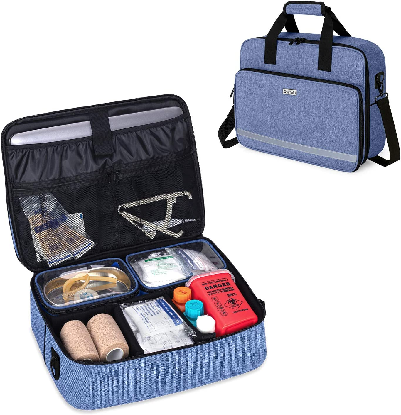 CURMIO Nursing Bags for Nurses Home Health, Small Medical Supplies Bag with 2 Detachable Transparent Pouches for Home Visits, Health Care, Hospice, Blue (Patented Design)