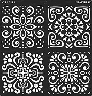 CrafTreat Stencil - Moroccan Tiles - Reusable Painting Template for Home Decor, Crafting, DIY Albums, Scrapbook, Decoration and Printing on Paper, Floor, Wall, Tile, Fabric, Wood 12x12 inches