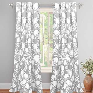 DriftAway Floral Delight Botanic Pattern Room Darkening Thermal Insulated Grommet Unlined Window Curtains Set of 2 Panels Each 52 Inch by 96 Inch Gray