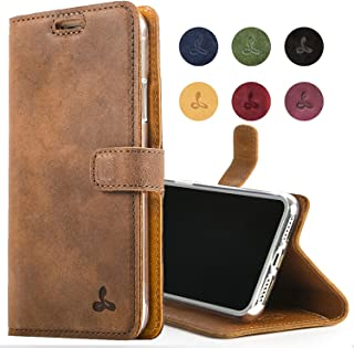 Snakehive Apple iPhone Xs/iPhone X Case, Luxury Genuine Leather Wallet with Viewing Stand and Card Slots, Flip Cover Gift Boxed and Handmade in Europe for Apple iPhone Xs/X - Brown